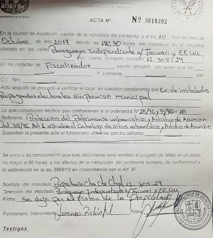 Municipalidad presentó denuncia ante Fiscalía por propaganda electoral extemporánea y daño a un patrimonio cultural de Asunción