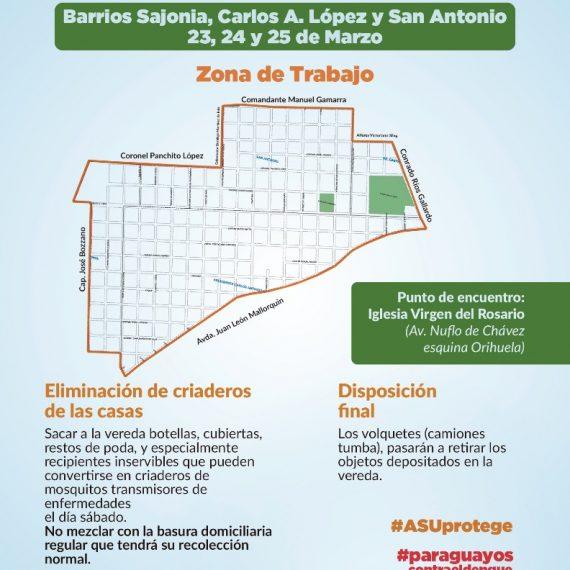 El barrio Sajonia será parte de la tercera gran jornada de Paraguayos Unidos Contra el Dengue