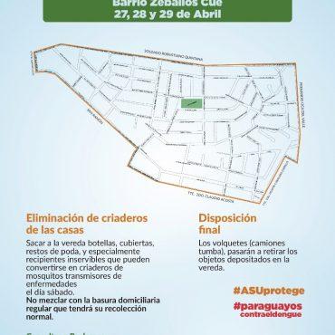 Sexta jornada contra el dengue se realizará este fin de semana en Zeballos Cue