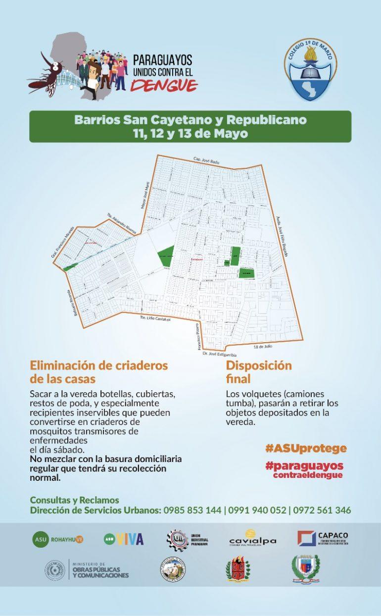 """Última jornada de la campaña """"Paraguayos Unidos contra el Dengue"""" se realizará desde este viernes 11 de mayo en los barrios Republicano y San Cayetano"""